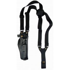 Кобура оперативная Наган кожаная формованная с синтетическим креплением вертикальная