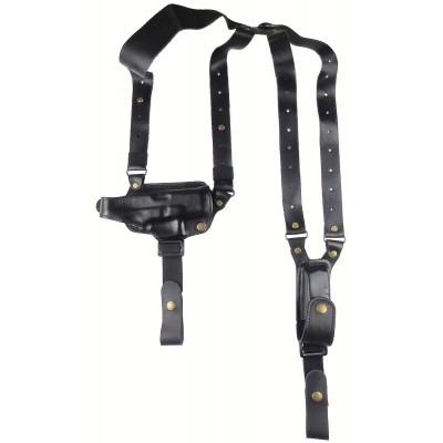 Кобура оперативная Glock 26 кожаная двухслойная формованная с кожаным креплением и подсумком под магазин