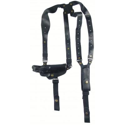 Кобура оперативная ТТ кожаная трехслойная формованная с кожаным креплением и подсумком под магазин горизонтальная