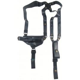 Кобура оперативная Canik TP9 SA кожаная формованная с кожаным креплением и подсумком под магазин