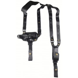 Кобура оперативная Glock 26 кожаная формованная с кожаным креплением и подсумком под магазин