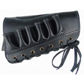 Патронташ кожаный открытый на приклад на 6 патронов 12 калибра