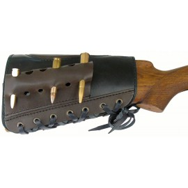 Патронташ кожаный открытый на приклад на 6 патронов калибра 7,62