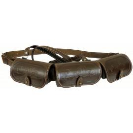 Патронташ кожаный двухрядный с тиснением на 36 патронов 12 калибра
