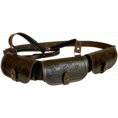 Патронташ кожаный однорядный с тиснением на 18 патронов 12 калибра